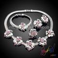 2014 nueva tendencia joyería conjunto de plata joyas engastado pavo cristal diseños para la boda al por mayor