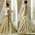halter del hombro que rebordea plisada vestidos de novia de estilo español a largo