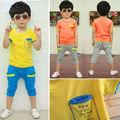 2pcs/set miúdos meninos ternos das crianças roupas de algodão bolsos t- shirt+ calças de terno do lazer conjunto 2-7 anos
