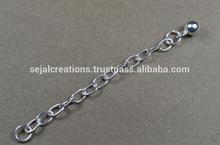Extensor de la cadena de la bola con 925 los hallazgos de plata, cadena de plata esterlina extensores listo en la acción