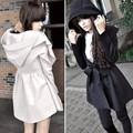 nueva llegada de moda otoño invierno de la mujer abrigo con capucha zanja vestidos de estilo con la correa g0227