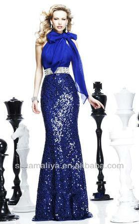 Kmly- e- 002 nuevo sencillo de sirena clásica azul sexy halter piso- longitud de lentejuelas de cuentas para los vestidos de noc