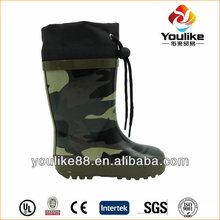 yl7143 kids fur forro barato camo botas de chuva