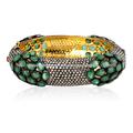 allanar diamantes esmeraldas naturales diseñador brazalete de piedras preciosas brazalete hecho a mano de la joyería de oro amar