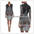 Largo- manga en zigzag- vestidos de punto, el último vestido diseños de imágenes( ydq03288)