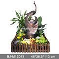 artificiales cascada en el interior para el hogar fuente de resina con decoraciones en forma de animales