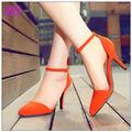 las mujeres hermoso color nude zapatos de tacón alto