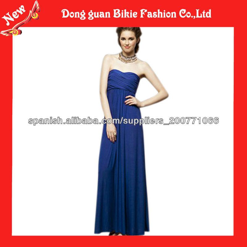 2013 Venta caliente vestido azul largo con vestido sin espalda Mujeres