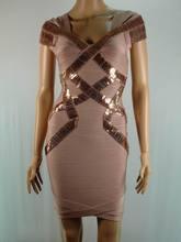 2014 vestido de mercancías vestido seleeve tapa de cuentas vendaje Stock HL025