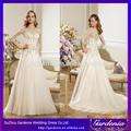 lujo sleath cristales de cuentas vestidos de novia superior pura con media manga suzhou vestido de novia( wd-002)