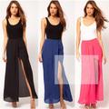 Damas de color sólido irregular frente abierto horcas/rastrillos gasa falda larga