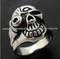 anillo de acero inoxidable cráneo de la manera