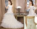 El último ks-006 vestido de tul y encaje abierto de nuevo vestido de novia 2014 en capas falda de tul vestido de novia sirena