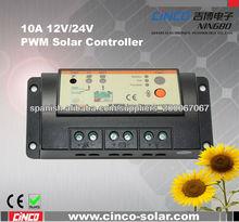 10A regulador de carga 12V24V PWM solar, pantalla led