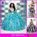 Hermoso vestido de bola azul vestido de quinceañera desmontable princesa