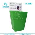Caja del soporte relajado verde ondulado del papel soporte volcado bin visualización
