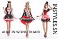 instyles reina de corazones de lujo de las señoras vestido de traje de alice in wonderland de vestuario
