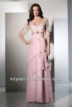 Vestido de encaje de manga corta rosada larga de gasa k450