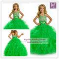 AFB3070 Puffy Niñas vestido de bola del halter Verde Manzana vestidos de las muchachas de flor