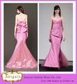 Novo estilo de venda quente querida um- linha de tafetá tule flor nó arco mangas simples vestido de noiva rosa 2014( qu0755)