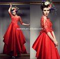 El último 2014 media manga bordado diseño árabe vestidos de noche/real de la muestra de color rojo elegante vestidos de noche