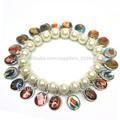 Bracelets de chapelet religieux, un côté Époxy figure catholique médaille des images, artificielle perles bracelet