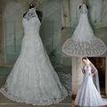 muestra real hy169 popular de cuello alto de una línea de tren capilla de encaje sexy vestido de boda vestido 2014