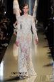 largo manga joya ver a través de lujo encaje cristal cuentas lentejuelas Elie Saab vestido de noche