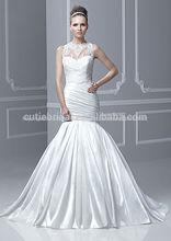 Encajes de alta calidad de alta calidad vestidos de novia sirena sin mangas de 2014