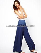 nuevos pantalones de gasa sueltas para damas largas pantalones llanos del color slik pantalones de vestir pantalones