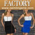 Moda Plus Size azul e preto Vestido branco Botão
