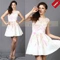 CY62762 off- blanco muestras de coreano de moda vestido de cóctel corto con mangas