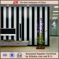moderno papel pintado pvc de rayas blanco y negro para las paredes