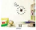 Zy823 preta peixes dos desenhos animados desenhos animados relógio amor metal relógio de parede autocolante/decalques da parede