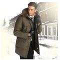 la costumbre de pluma de ganso llena de invierno de los hombres chaqueta parka de largo
