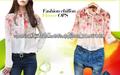 Camisas modelos de impresión del verano camisa de las mujeres de la gasa camiseta superior Blusas