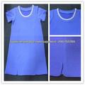 nueva llegada de verano para damas llano de manga corta azul jacquard con cuentas vestido midi