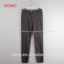 2014 nueva llegada impreso largo la mujer pantalones de lino