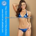 Azul Metálico Papel De Aluminio Dos Piezas Bikini / Sexy Chica Foto Bikini 2014