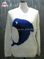 Los modelos de la moda suéter para niñas de lentejuelas gato largo- manga cuello redondo el invierno y otoño mujeres jersey