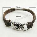 caliente venta de moda cráneo pulsera cuerda moderno pulseras hechas a mano del cordón de gamuza pulseras