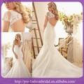 Vestidos de novia de encaje vintage con las mangas del casquillo y la espalda abierta con cuello en V con cuentas vestido de nov