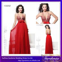 2014 Alto QuHigh Calidad Marca Sexy Red vaina cabestro sin respaldo blusa moldeada del vestido de noche de baile vestido AB0360