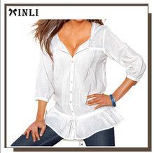 El escote redondeado con puntilla que Camisa blusa mujer con puntilla 100% algodón