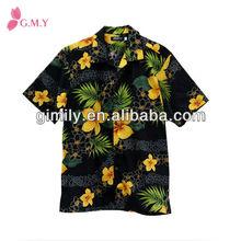 de algodón de los hombres slim fit floral camisas camisas hawaianas traje de hombre