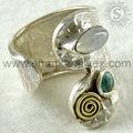 Jóias de prata atacadista índia/jóias de prata esterlina/rainbow moon stone& tuquoise pedras preciosas anel de prata