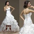 Itália Designer Mermaid Wedding Dress / Vestido drapeado Organza