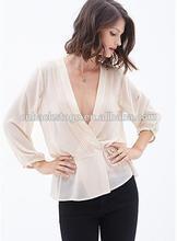 De la señora profundo v- cuello cuello mangas largas transparente y sexy blusa de gasa