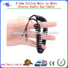 Negro primavera 3.5mm car jack macho a macho de grabación de audio estéreo cable de entrada auxiliar para ipod pc mp3 coche