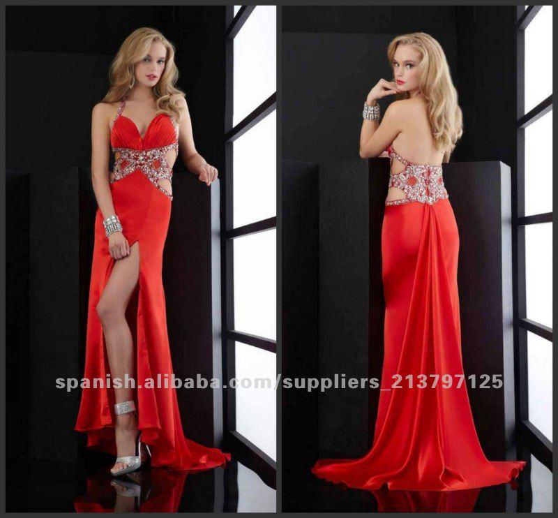 Con cuentas de satén de 2012 vestidos de noche p ed 398 vestido de